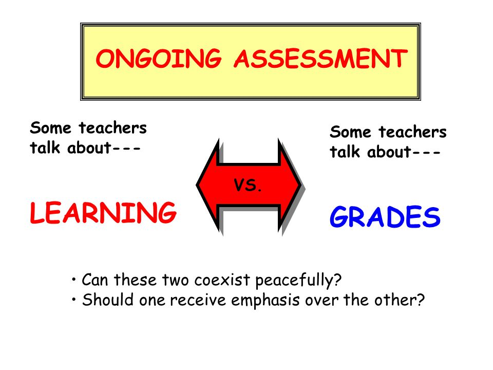 LEARNING GRADES ONGOING ASSESSMENT Some teachers Some teachers