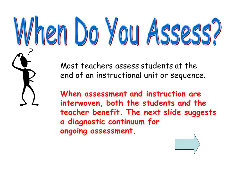 When Do You Assess Most teachers assess students at the