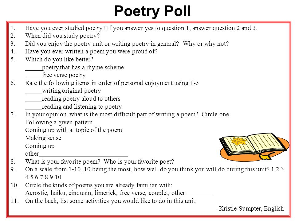Poetry Poll Have you ever studied poetry If you answer yes to question 1, answer question 2 and 3.