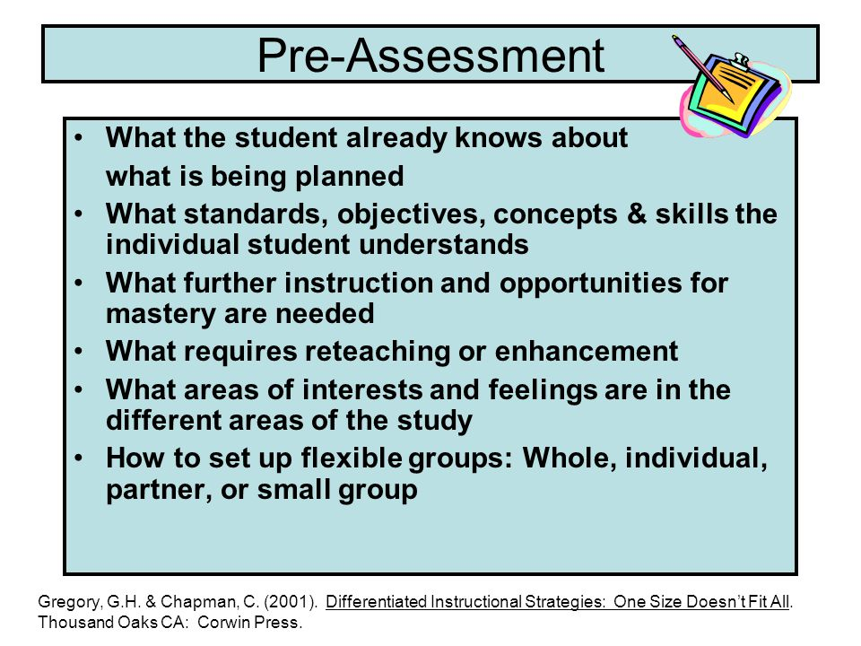 Pre-Assessment What the student already knows about