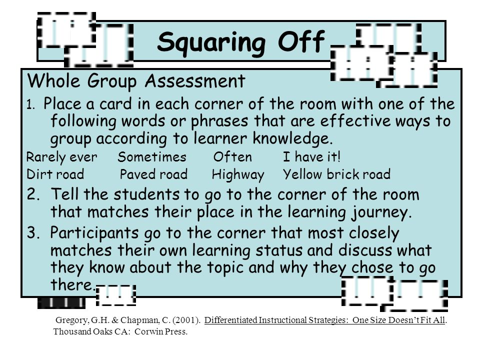 Squaring Off Whole Group Assessment