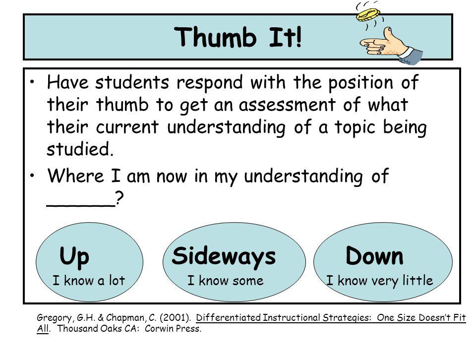 Thumb It! Up Sideways Down