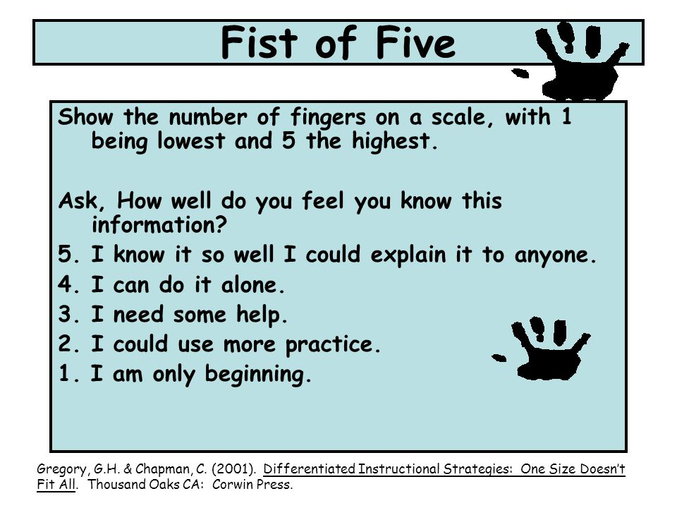 Fist of Five Show the number of fingers on a scale, with 1 being lowest and 5 the highest. Ask, How well do you feel you know this information