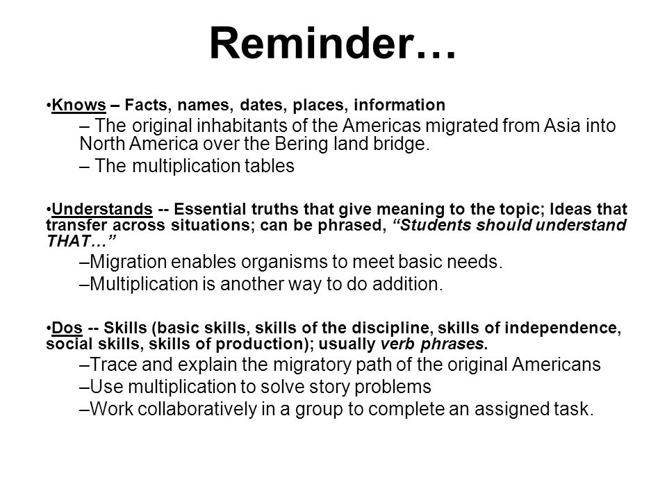 Reminder… Knows – Facts, names, dates, places, information.