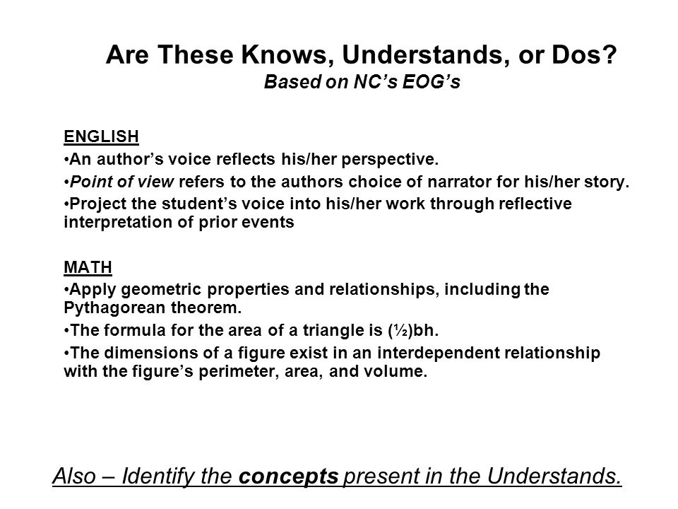 Are These Knows, Understands, or Dos Based on NC's EOG's
