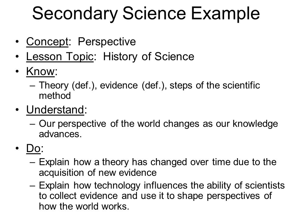 Secondary Science Example