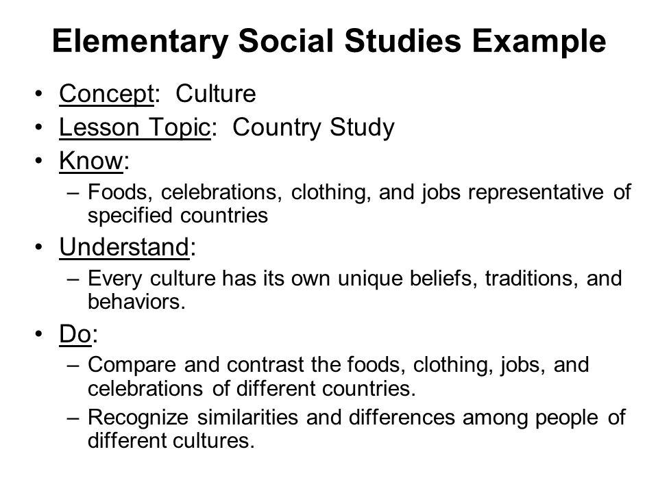 Elementary Social Studies Example
