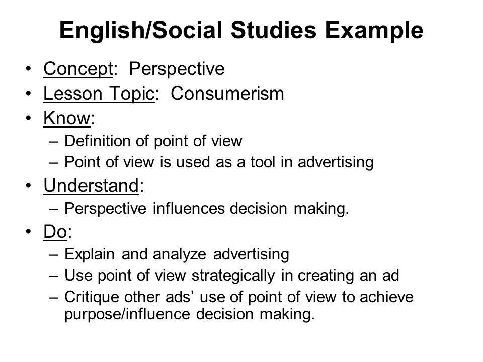 English/Social Studies Example