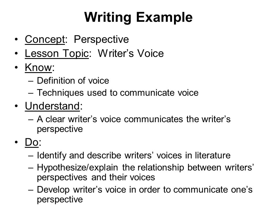 Writing Example Concept: Perspective Lesson Topic: Writer's Voice