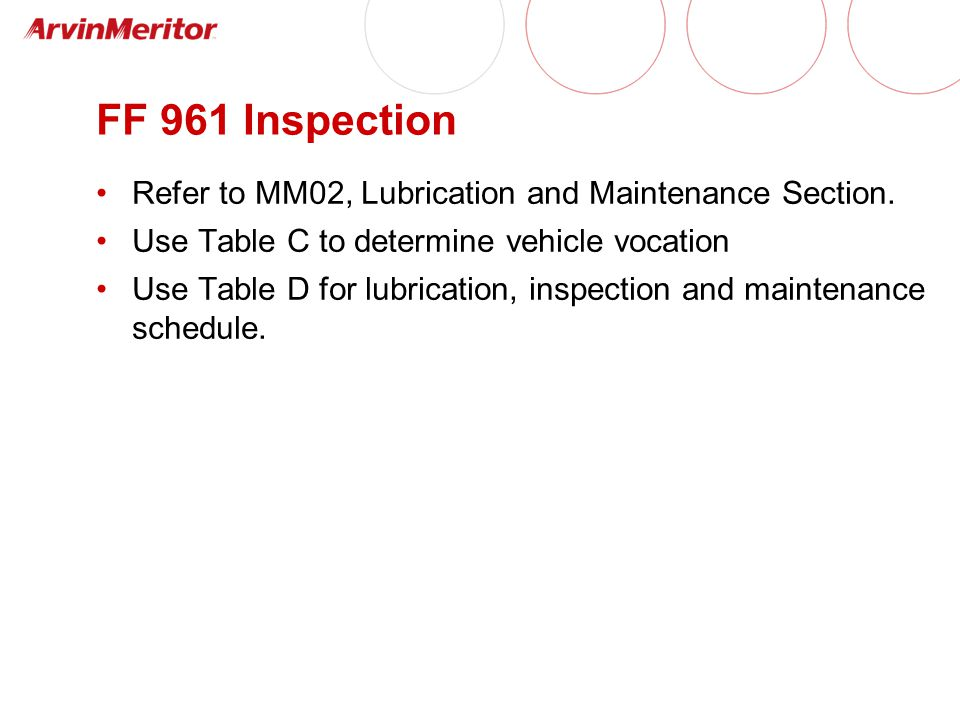 FF 961 Inspection Refer to MM02, Lubrication and Maintenance Section.