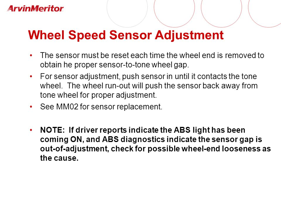Wheel Speed Sensor Adjustment