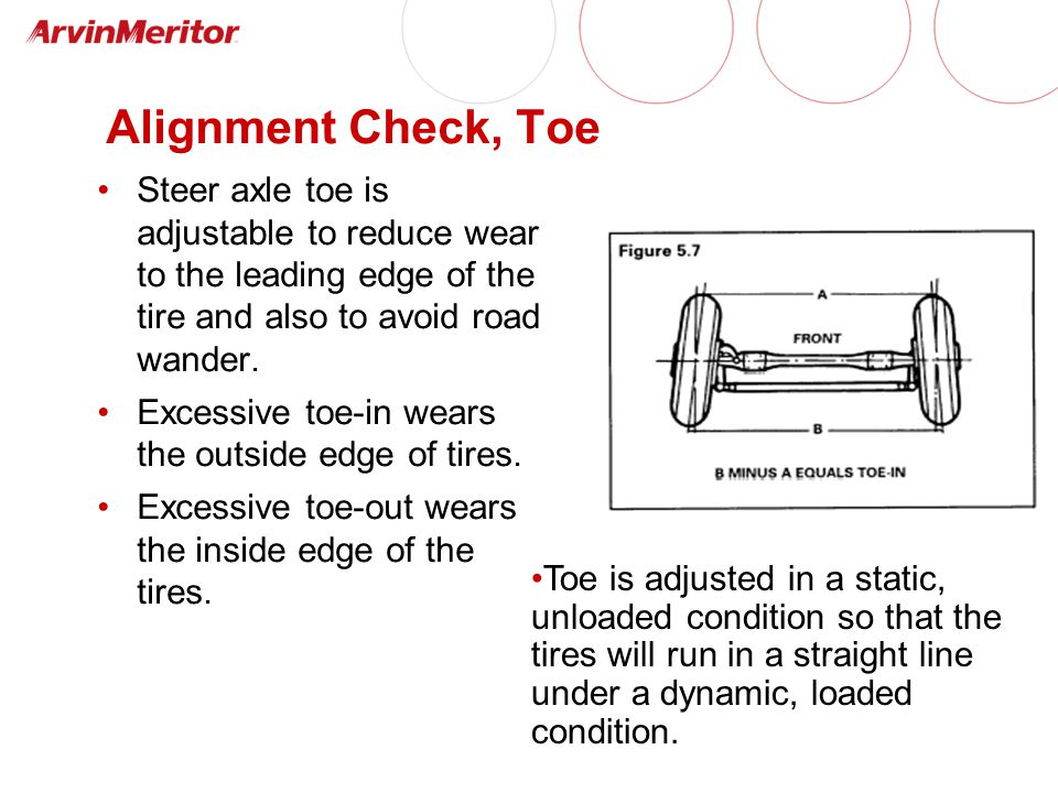 Alignment Check, Toe Steer axle toe is adjustable to reduce wear to the leading edge of the tire and also to avoid road wander.