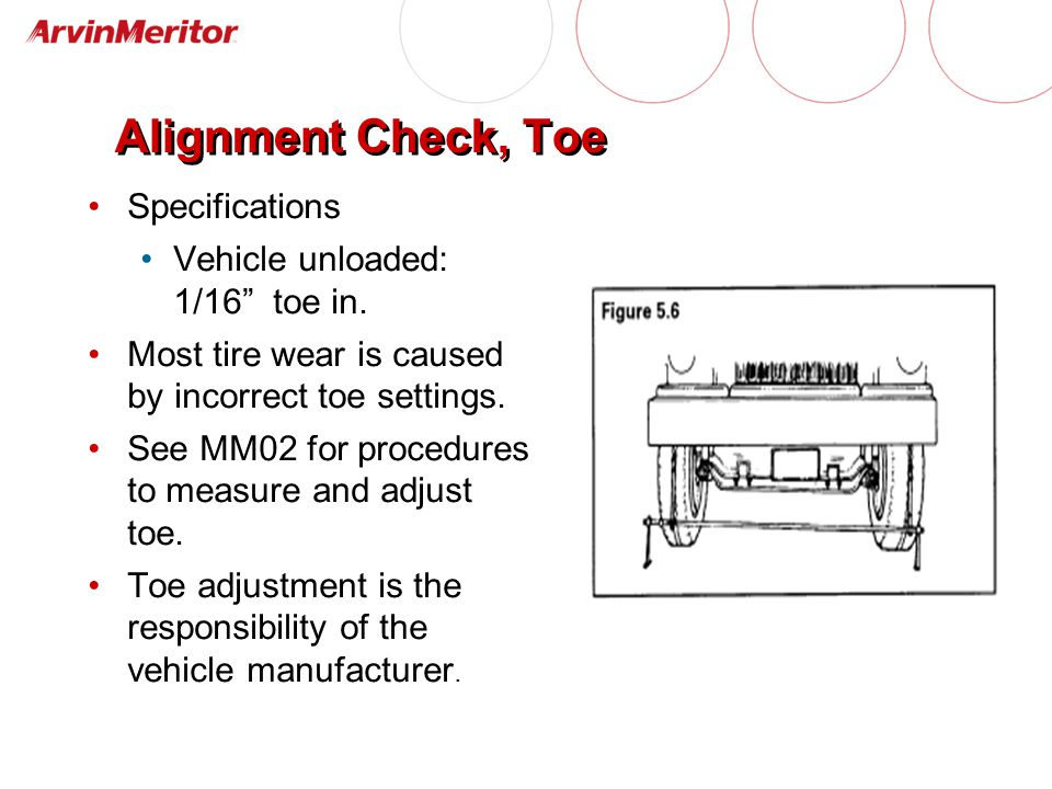Alignment Check, Toe Specifications Vehicle unloaded: 1/16 toe in.