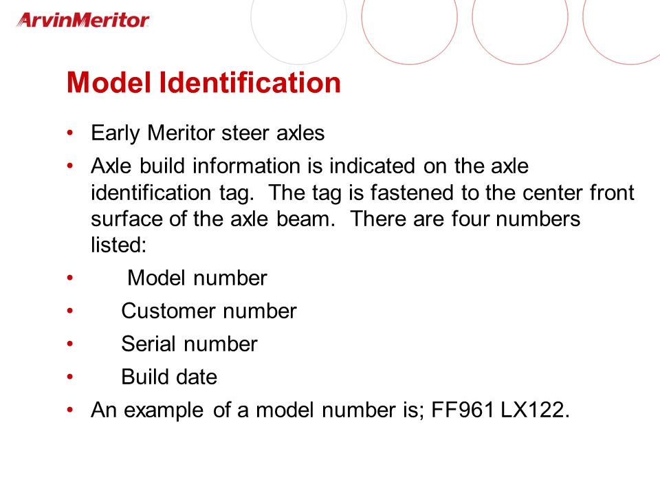 Model Identification Early Meritor steer axles