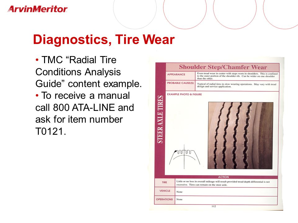Diagnostics, Tire Wear TMC Radial Tire Conditions Analysis Guide content example.