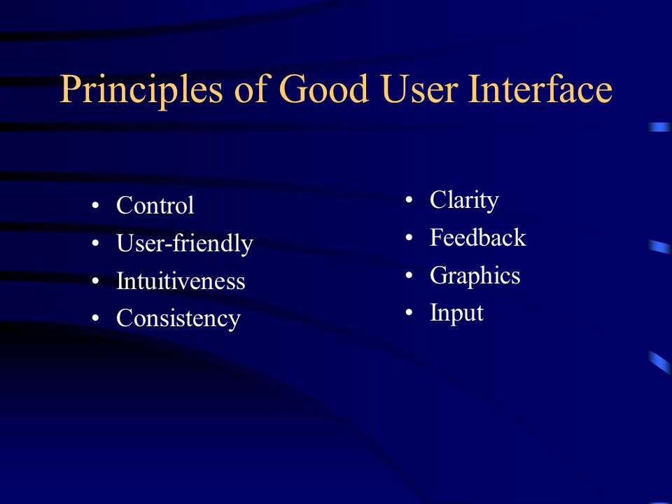 Principles of Good User Interface