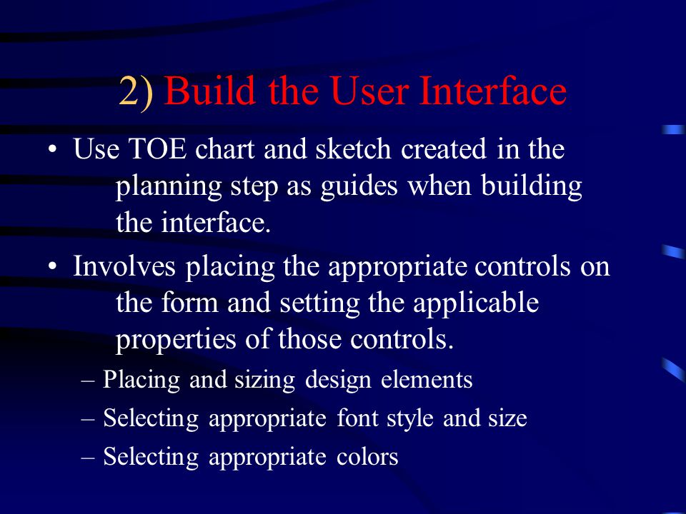 2) Build the User Interface