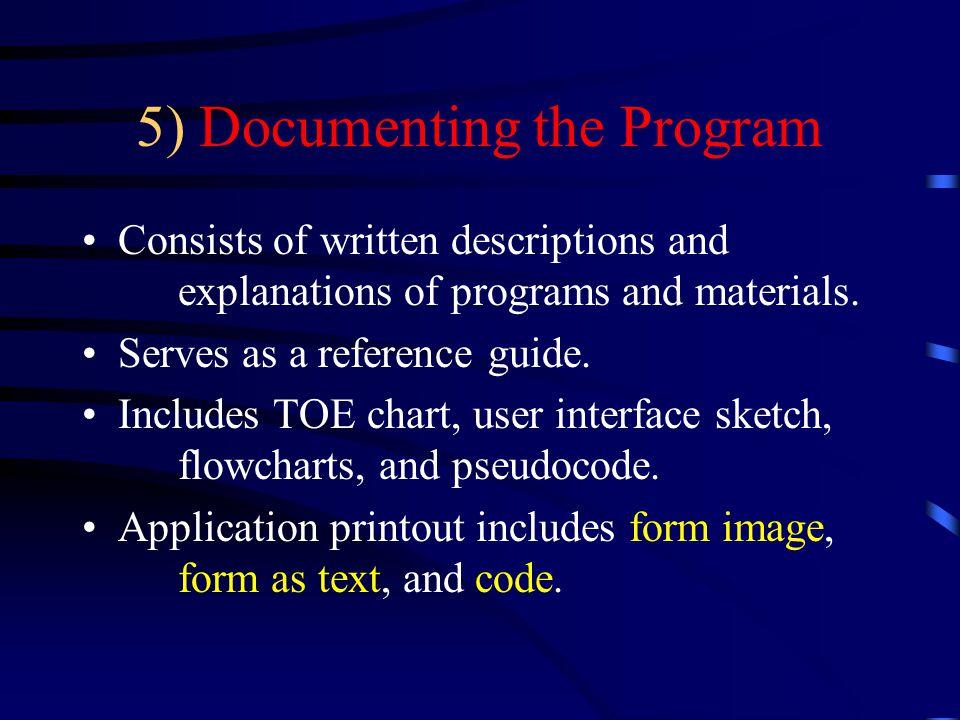 5) Documenting the Program