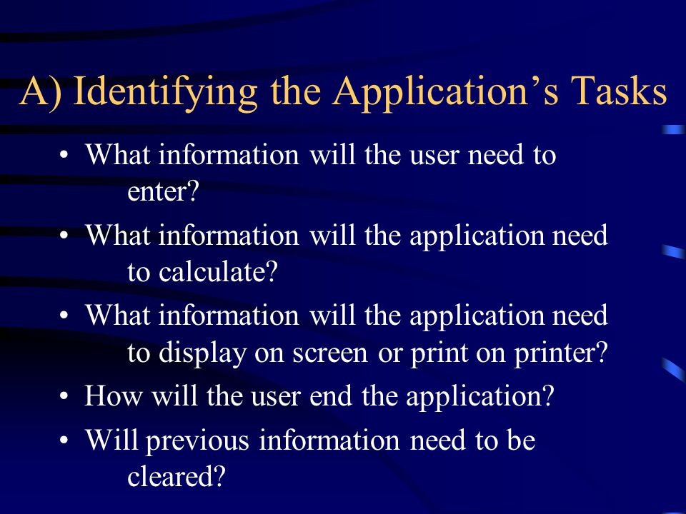 A) Identifying the Application's Tasks
