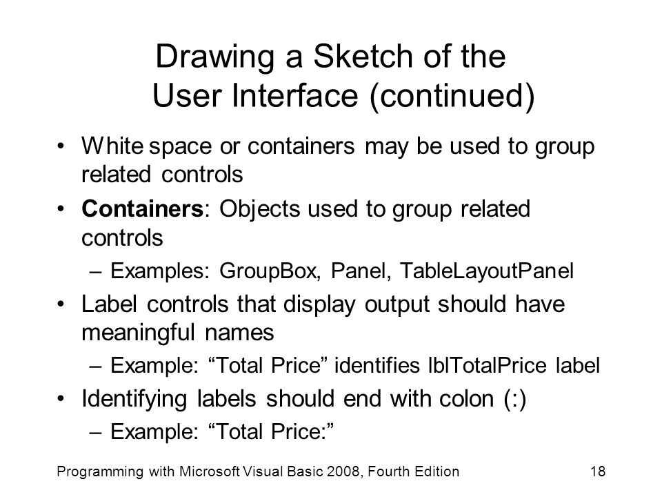 Drawing a Sketch of the User Interface (continued)
