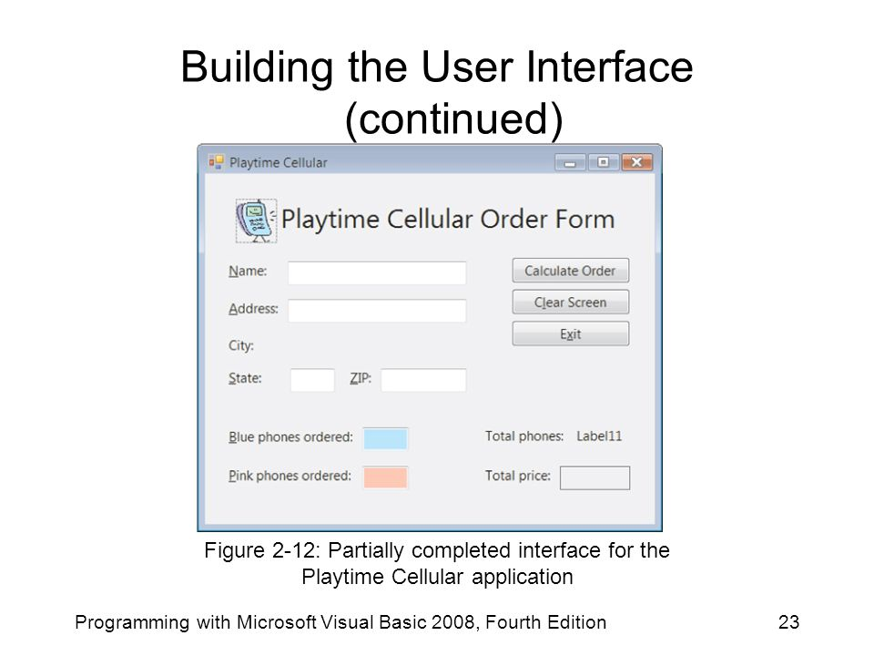 Building the User Interface (continued)