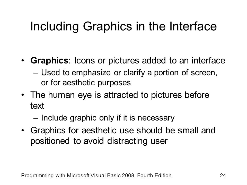 Including Graphics in the Interface