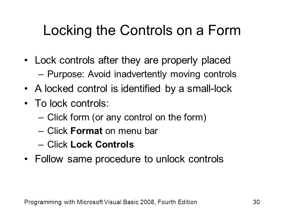Locking the Controls on a Form