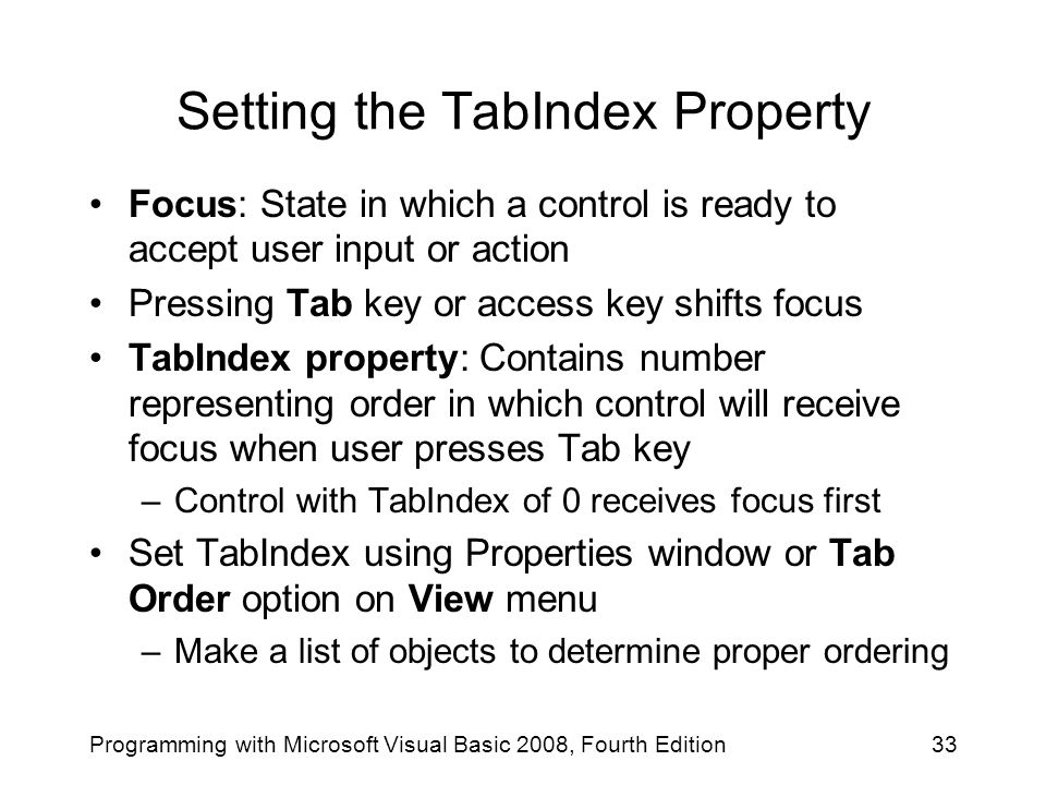Setting the TabIndex Property