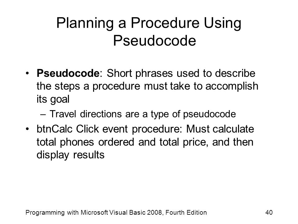 Planning a Procedure Using Pseudocode