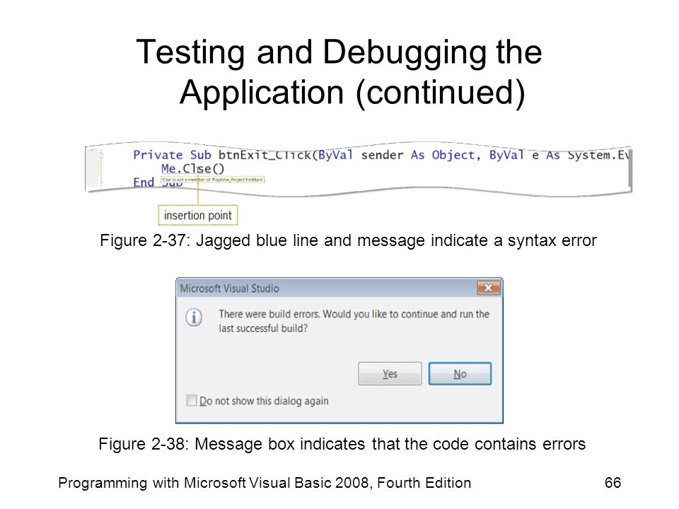 Testing and Debugging the Application (continued)