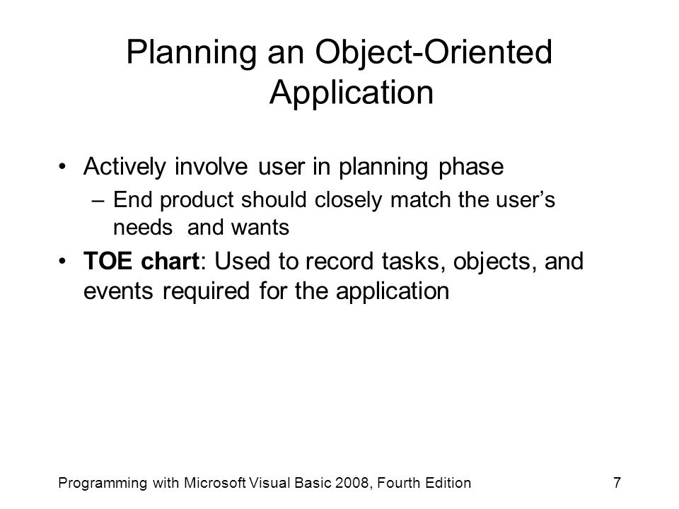 Planning an Object-Oriented Application