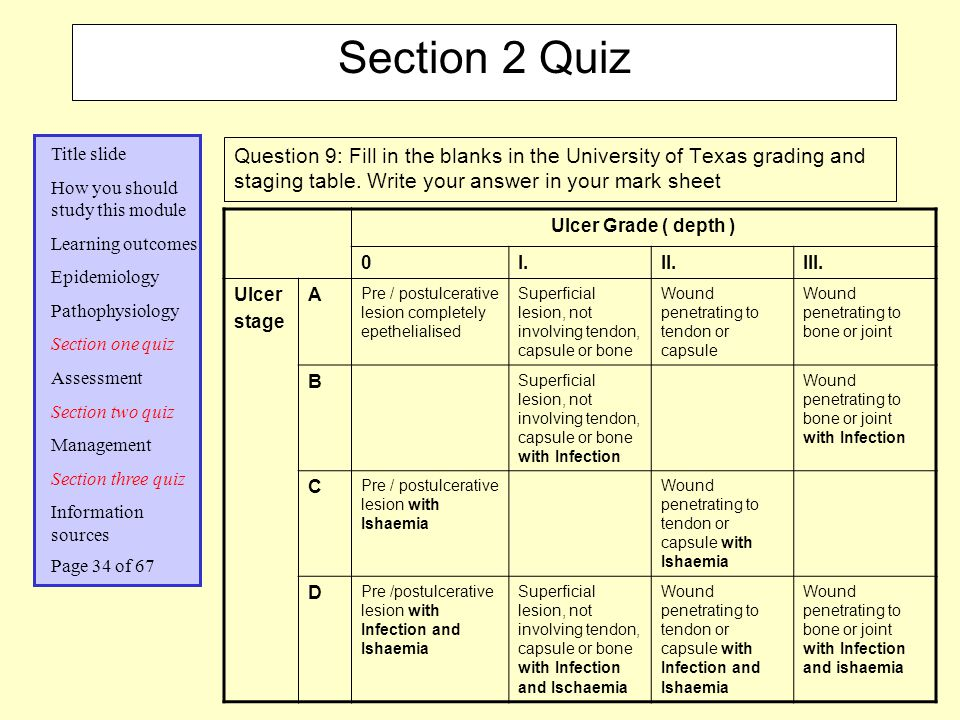 Section 2 Quiz Question 9: Fill in the blanks in the University of Texas grading and staging table. Write your answer in your mark sheet.