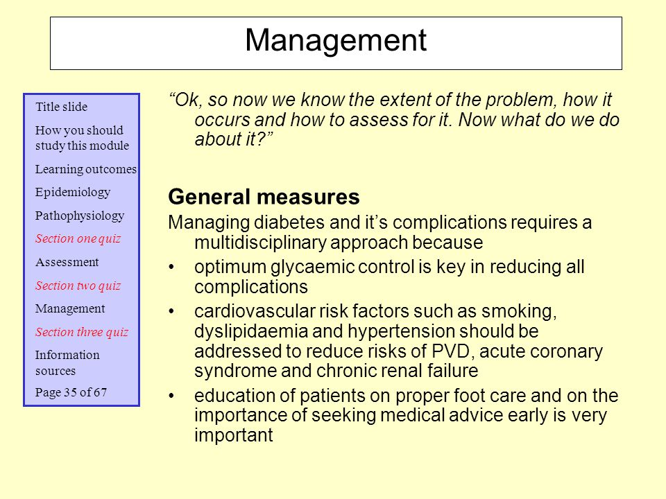 Management General measures