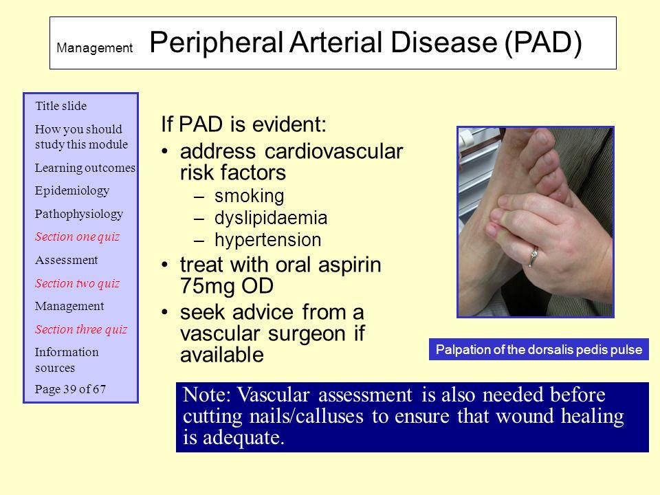 Palpation of the dorsalis pedis pulse