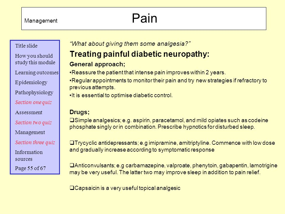 Treating painful diabetic neuropathy: