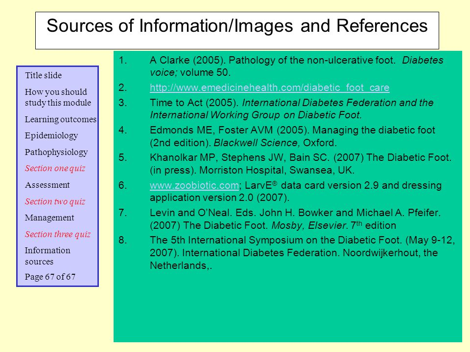 Sources of Information/Images and References