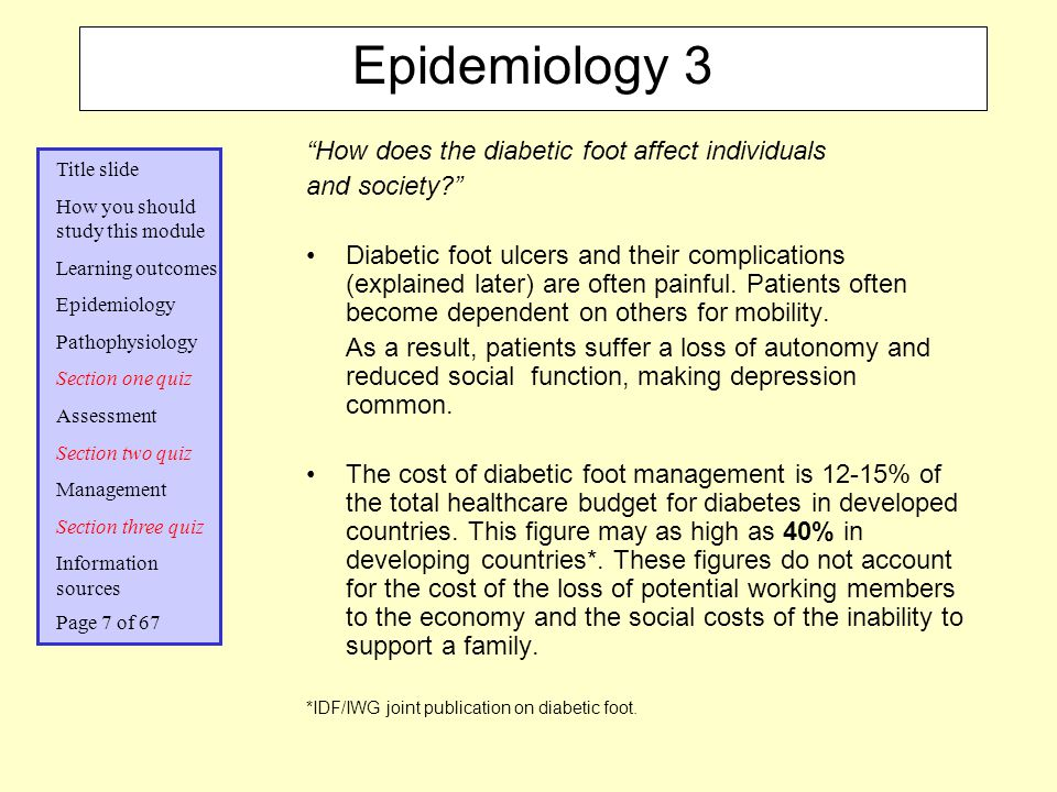 Epidemiology 3 How does the diabetic foot affect individuals