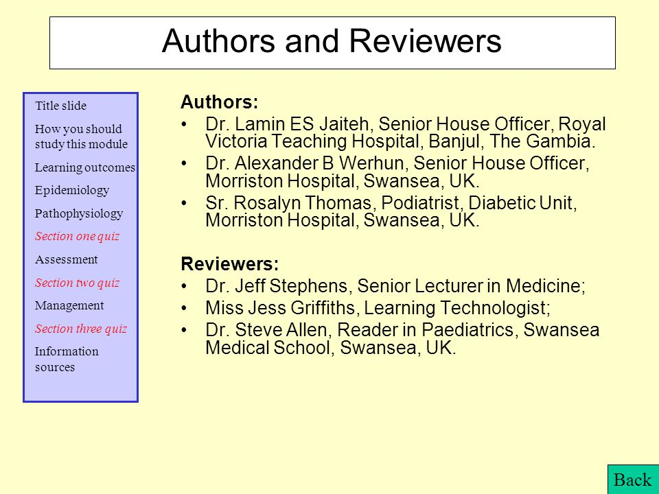 Authors and Reviewers Authors: