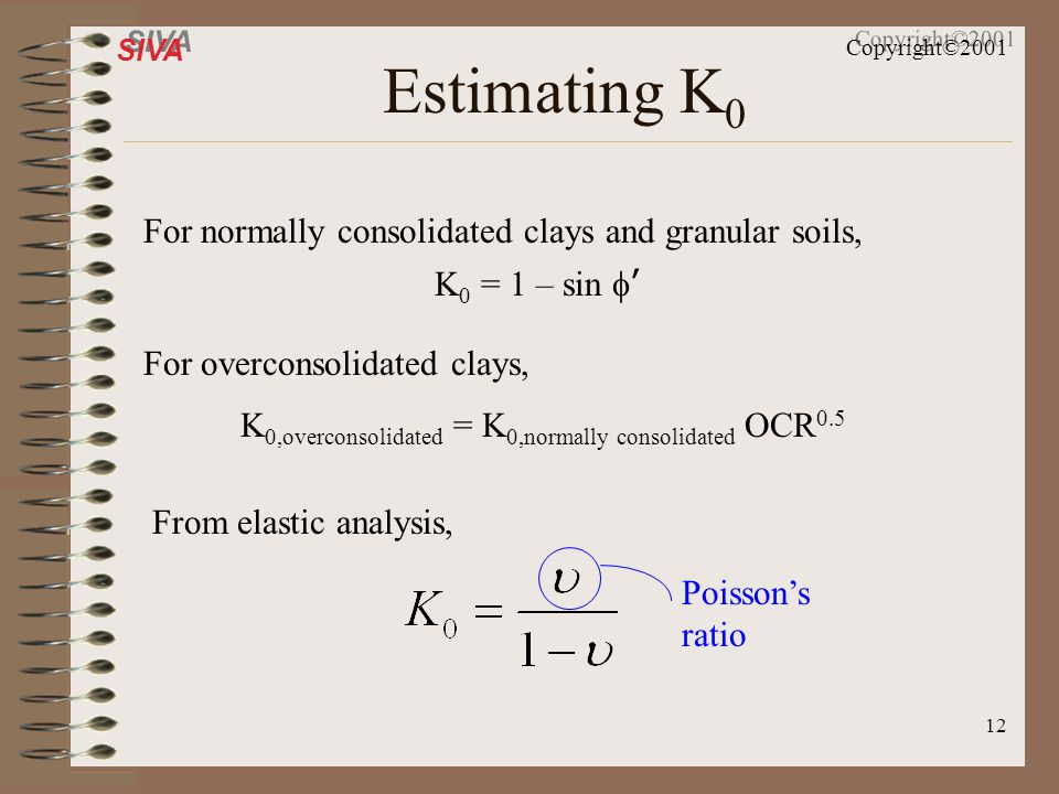 Estimating K0 For normally consolidated clays and granular soils,