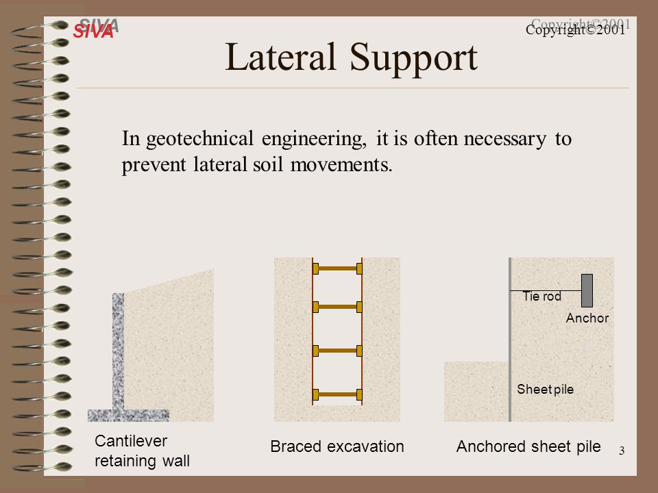 Lateral Support In geotechnical engineering, it is often necessary to prevent lateral soil movements.