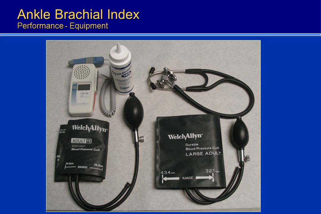 Ankle Brachial Index Performance - Equipment