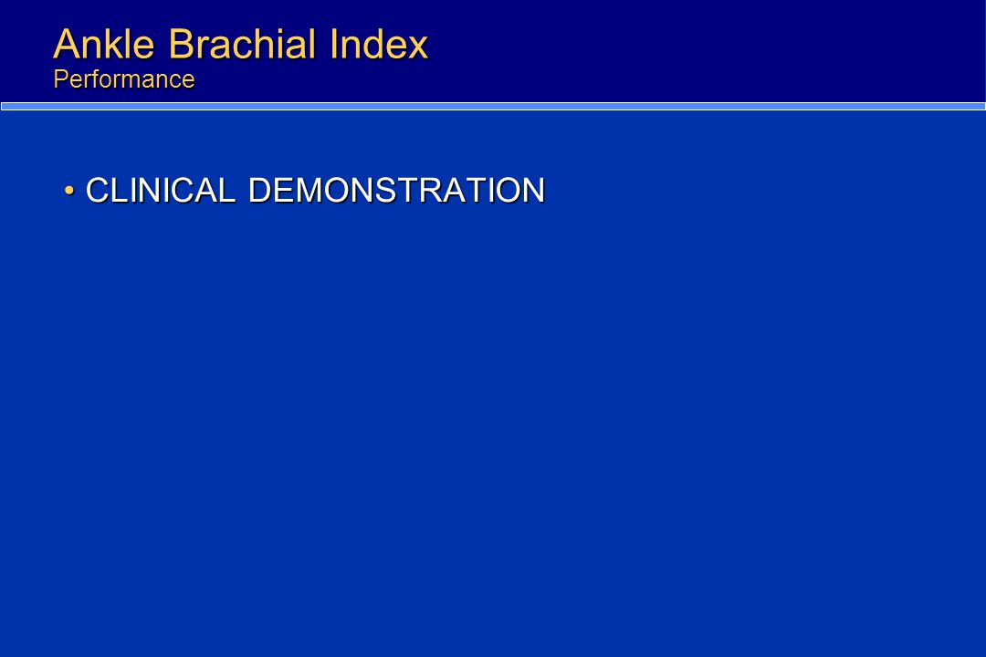 Ankle Brachial Index Performance