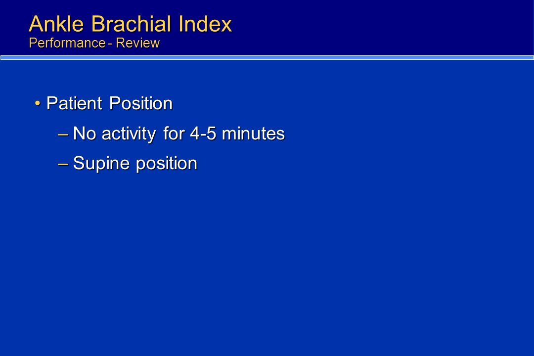 Ankle Brachial Index Performance - Review