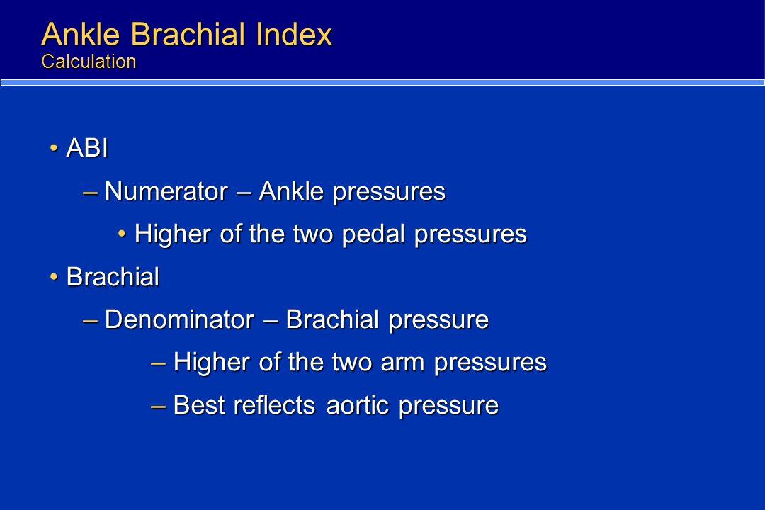 Ankle Brachial Index Calculation