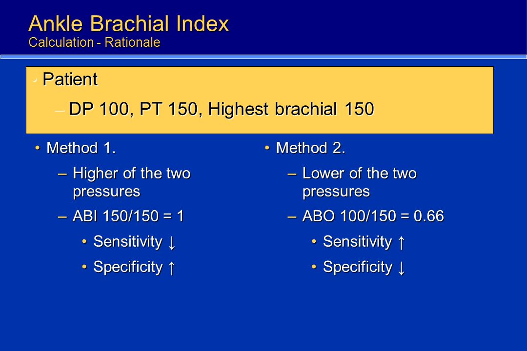 Ankle Brachial Index Calculation - Rationale