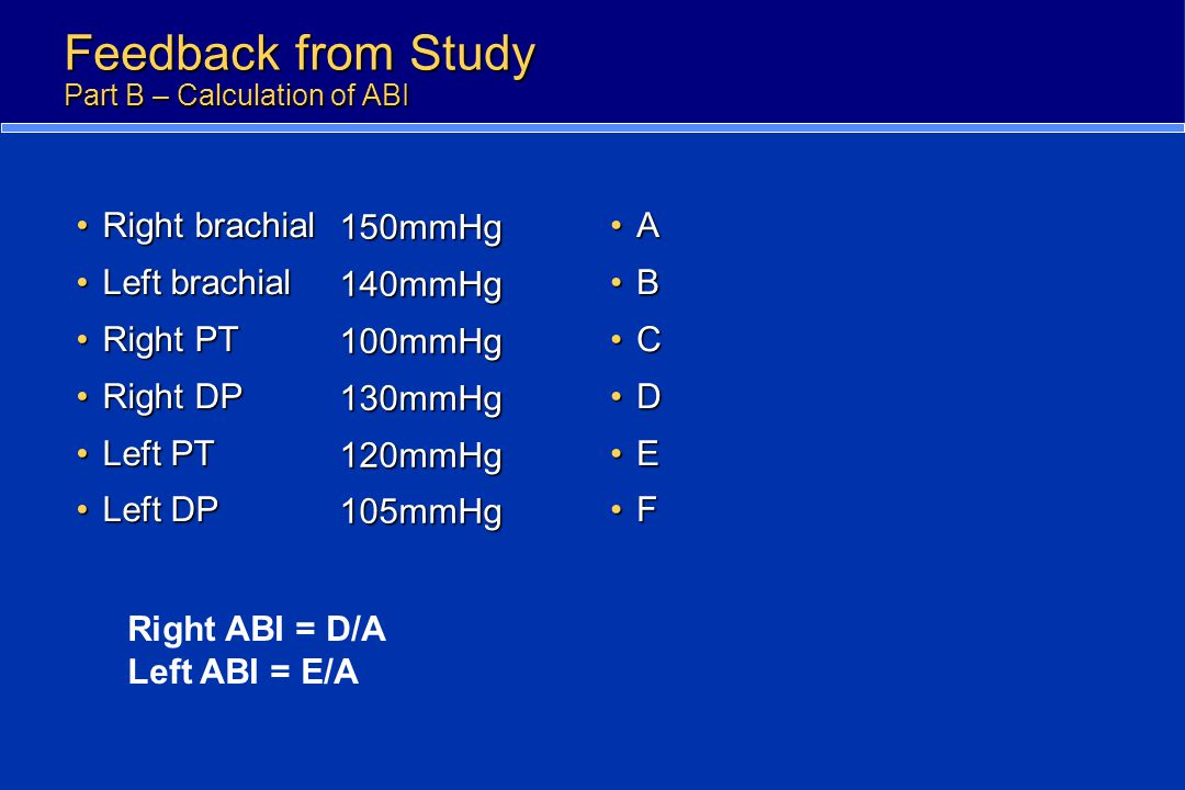 Feedback from Study Part B – Calculation of ABI