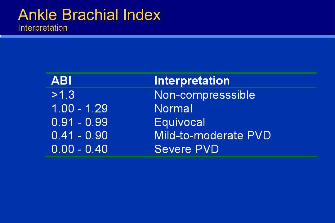 Ankle Brachial Index Interpretation