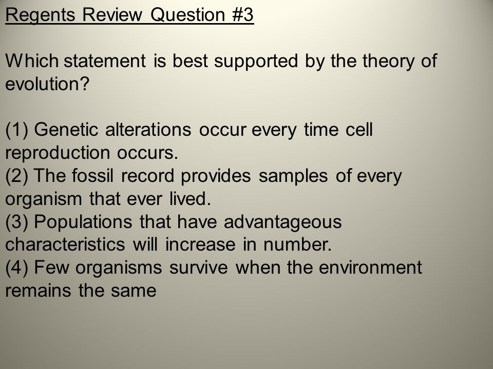 Regents Review Question #3