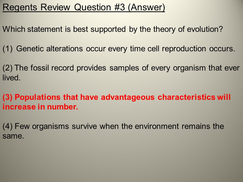 Regents Review Question #3 (Answer)