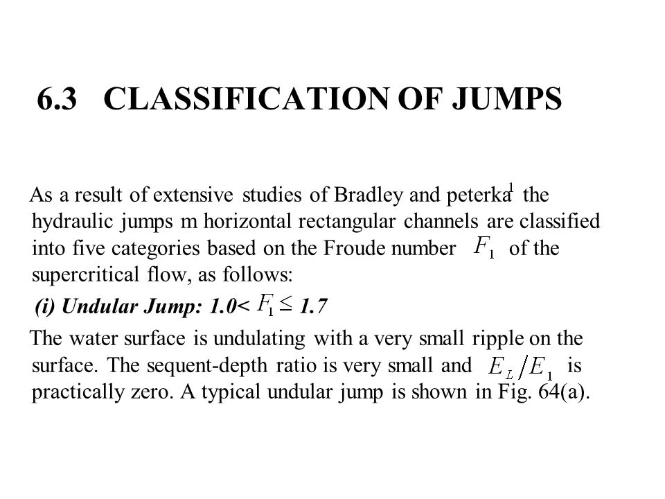 6.3 CLASSIFICATION OF JUMPS